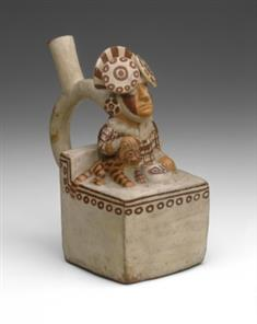 Stirrup-Spout Square Vessel: Seated Ruler With Pampas Cat (JPEG)