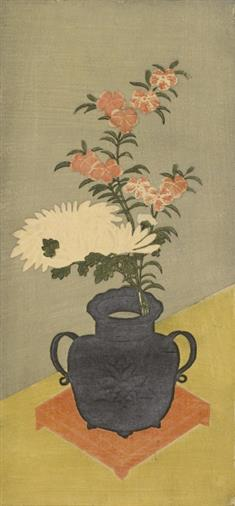 White Chrysanthemums and Pinks in  a Black Vase (TIFF)